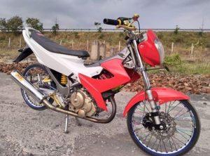 modifikasi motor satria fu warna merah putih